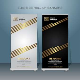 Diseño de banner roll up oro