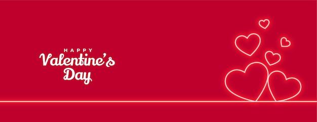 Diseño de banner romántico de corazones de neón de día de san valentín