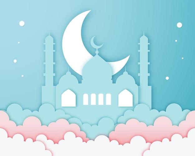 Diseño de banner de saludo de arte de talla de papercut blanco azul hermoso islámico