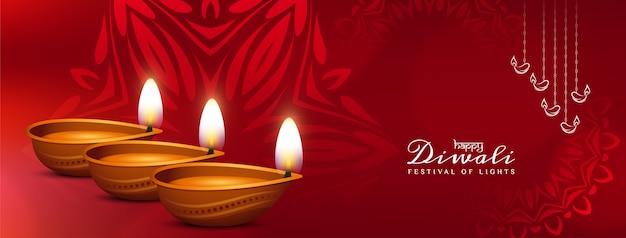 Diseño de banner de saludo festival happy diwali de color rojo