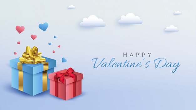 Diseño de banner de san valentín. ilustración con cajas de regalo sobre fondo azul suave.