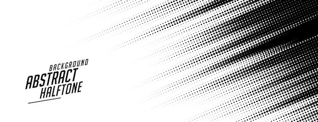Diseño de banner de semitono de estilo abstracto de líneas de velocidad