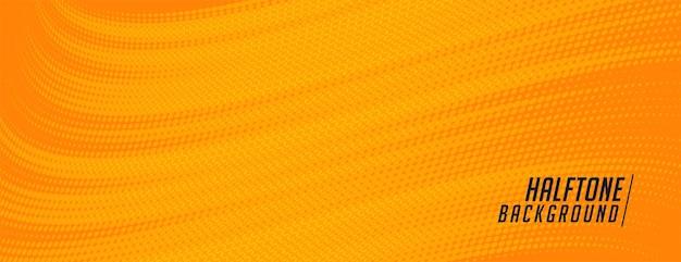 Diseño de banner de semitono naranja de estilo cómico