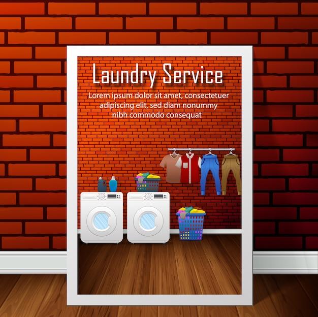 Diseño de banner de servicio de lavandería en el fondo de la pared de ladrillo