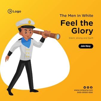 Diseño de banner de siente la gloria en estilo de dibujos animados.