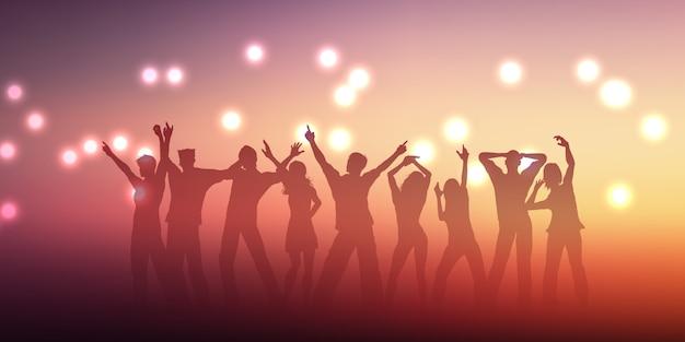Diseño de banner con siluetas de personas bailando