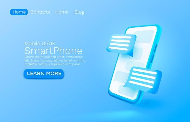 Diseño de banner de sitio web de internet de chat de mensaje de correo electrónico móvil
