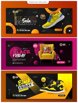 Diseño de banner de sitio web de venta de viernes negro con tres colores y diseños diferentes
