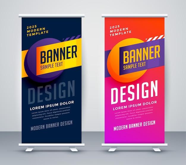 Diseño de banner de standee enrollable con estilo abstracto