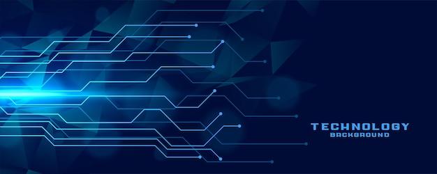 Diseño de banner de tecnología de líneas de circuito digital.