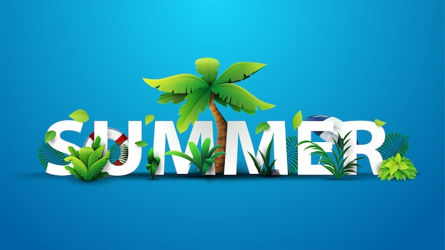 Diseño de banner de texto 3d de verano con título blanco y elementos tropicales en fondo azul para su arte
