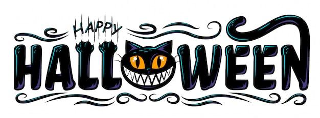 Diseño de banner de texto feliz halloween