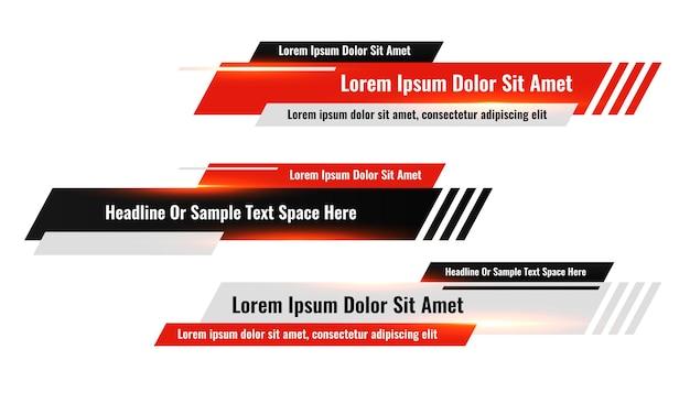Diseño de banner de título de tercio inferior rojo moderno