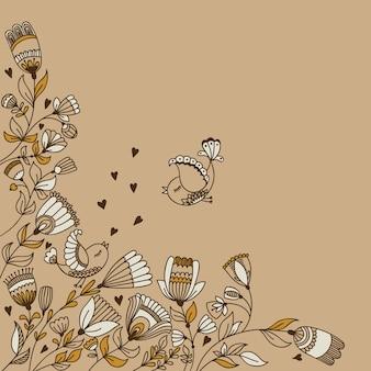 Diseño de banner de vector con flores, pájaros y lugar para texto