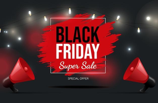 Diseño de banner de vector de viernes negro con texto super venta de temporada