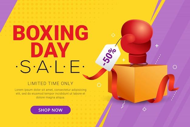 Diseño de banner de venta de boxing day con oferta de descuento