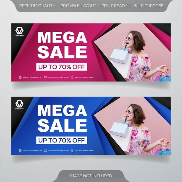 Diseño de banner de venta con concepto moderno