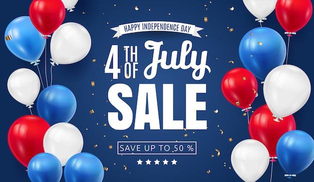 Diseño de banner de venta del día de la independencia del cuatro de julio con color de la bandera americana de globo. ilustración de vacaciones nacionales de estados unidos con elementos de tipografía de oferta especial para cupón, cupón, pancarta, folleto