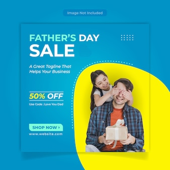 Diseño de banner de venta del día del padre de las redes sociales