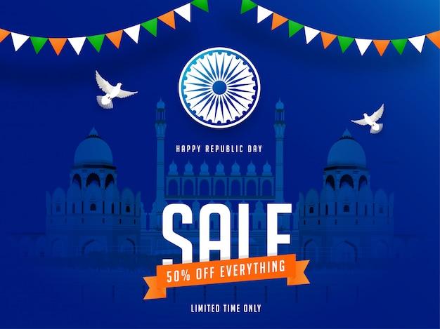 Diseño de banner de venta del día de la república con una oferta de descuento del 50%