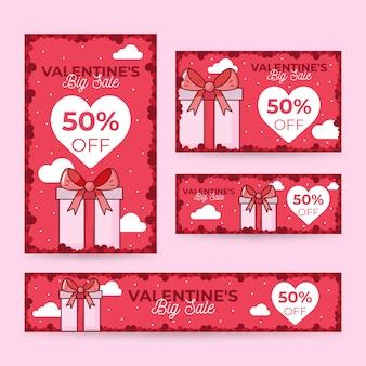 Diseño de banner de venta del día de san valentín