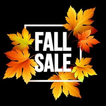 Diseño de banner de venta estacional de otoño. hoja de fal. ilustración de vector eps10