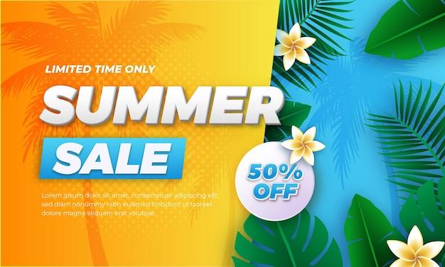 Diseño de banner de venta de fin de verano de forma abstracta