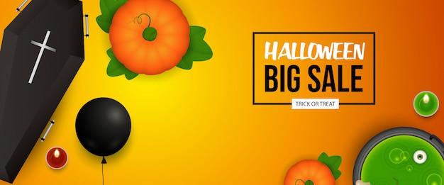 Diseño de banner de venta de halloween con calabaza, ataúd