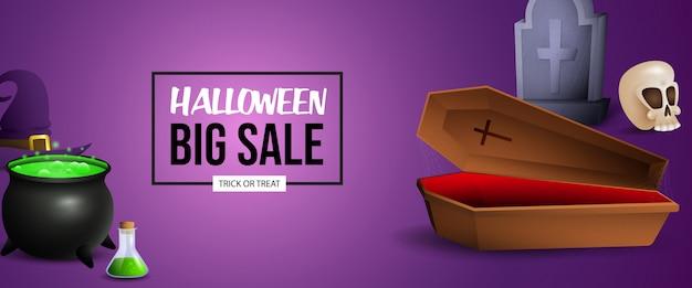 Diseño de banner de venta de halloween con poción, ataúd y tumba