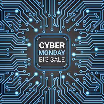 Diseño de banner de venta de lunes cibernético sobre líneas futuristas