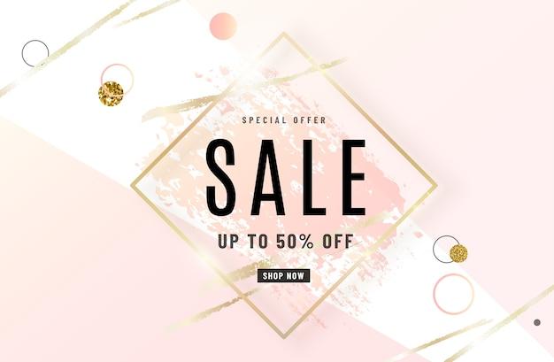 Diseño de banner de venta de moda con marco dorado, pincel de acuarela rosa rosa, texto de oferta especial, elementos geométricos.