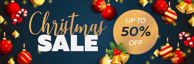 Diseño de banner de venta de navidad con bolas