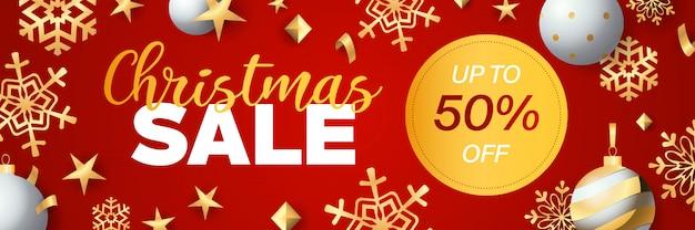 Diseño de banner de venta de navidad con etiqueta de descuento