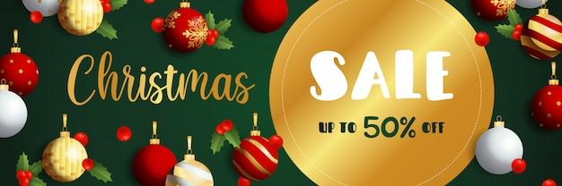 Diseño de banner de venta de navidad con etiqueta dorada