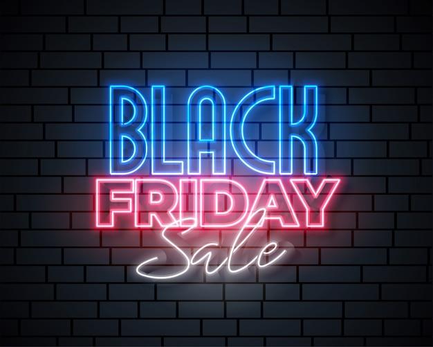 Diseño de banner de venta de neón de viernes negro