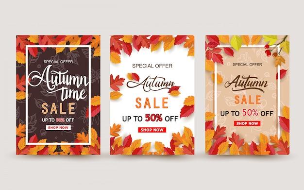 Diseño de banner de venta otoño con conjunto de hojas