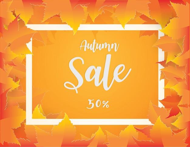 Diseño de banner de venta otoño con fondo de hojas de otoño rojo, naranja, marrón y amarillo cayendo.