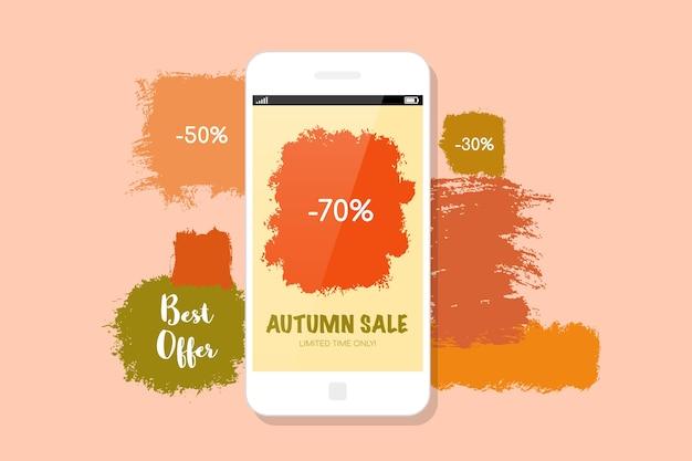 Diseño de banner de venta de otoño. moderno teléfono móvil y manchas de pintura en el fondo.