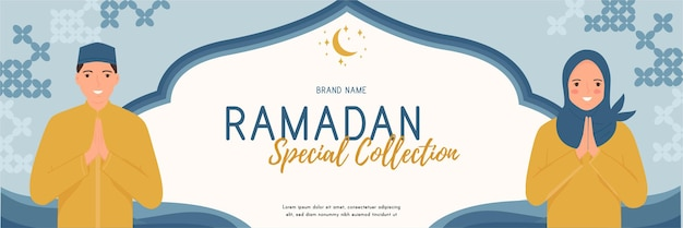 Diseño de banner de venta de ramadán