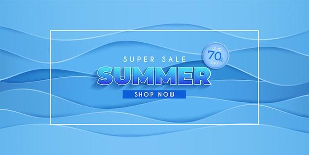 Diseño de banner de venta de verano con corte de papel