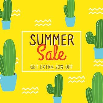 Diseño de banner de venta de verano con elementos de doodle