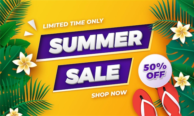Diseño de banner de venta de verano de fondo tropical