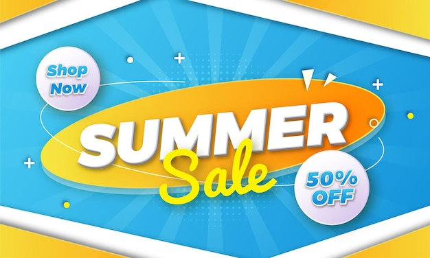 Diseño de banner de venta de verano de forma abstracta