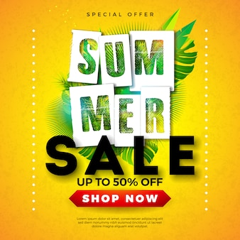 Diseño de banner de venta de verano con hojas de palmeras tropicales y letra de tipografía