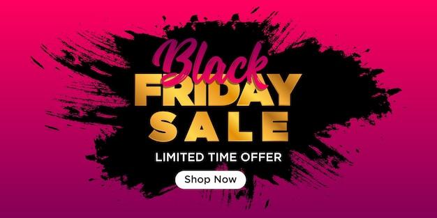 Diseño de banner de venta de viernes negro con pinceladas y color dorado