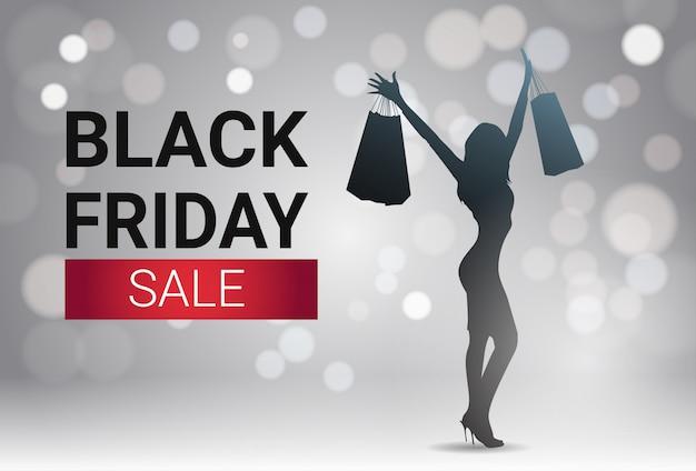 Diseño de banner de venta de viernes negro con silueta femenina sobre luces blancas bokeh fondo vacaciones