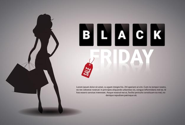 Diseño de banner de venta de viernes negro con silueta femenina sosteniendo bolsas de compras