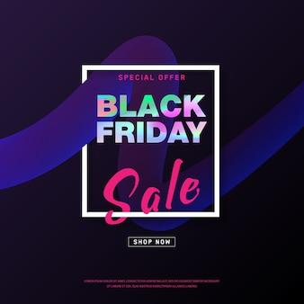 Diseño de banner de venta de viernes negro con texto holográfico en forma de flujo 3d.
