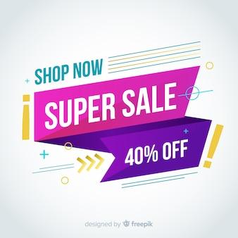 Diseño de banner de ventas colorido abstracto