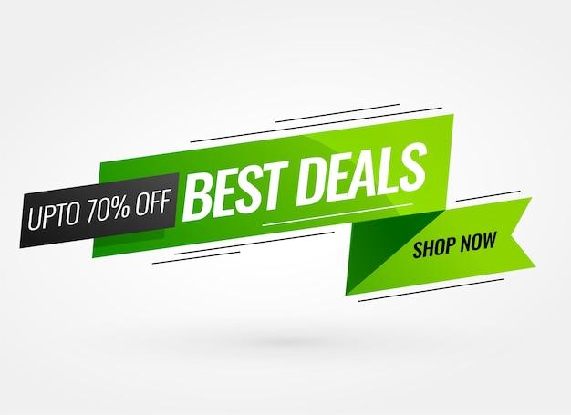 Diseño de banner verde estilo cinta promocional mejor oferta